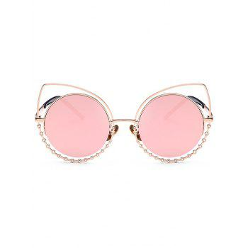 UV Protection Rhinestone Cat Eye Sunglasses - GOLD FRAME / PINK LENS