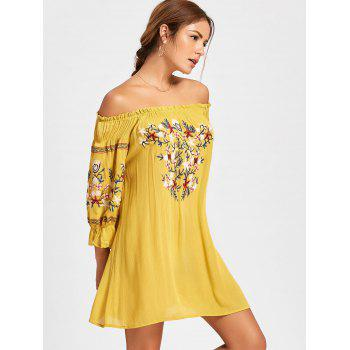 Embroidery Off The Shoulder Dress - YELLOW S