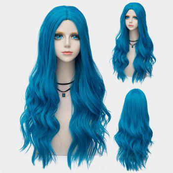 Long Center Parting Layered Wavy Synthetic Party Wig - BLUE BLUE