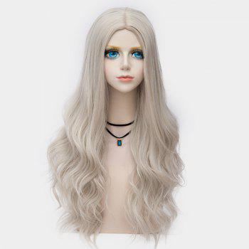 Long Center Parting Layered Wavy Synthetic Party Wig -  DARK OFF WHITE OMBRE
