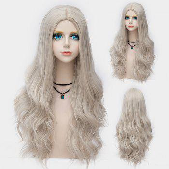 Long Center Parting Layered Wavy Synthetic Party Wig - DARK OFF-WHITE OMBRE DARK OFF WHITE OMBRE