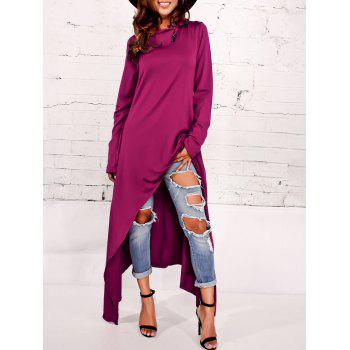 Asymmetrical Pullover Maxi Hoodie - PURPLISH RED 2XL