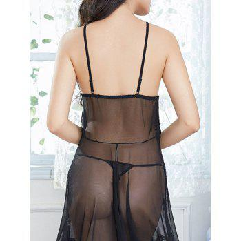 Fringed Mesh See Through Slip Babydoll - BLACK ONE SIZE