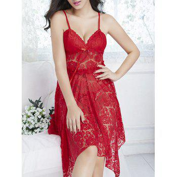 Handkerchief Lace Sheer Slip Babydoll - Rouge ONE SIZE