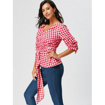 Tie Waist Tartan Surplice Blouse with Long Tail - RED S