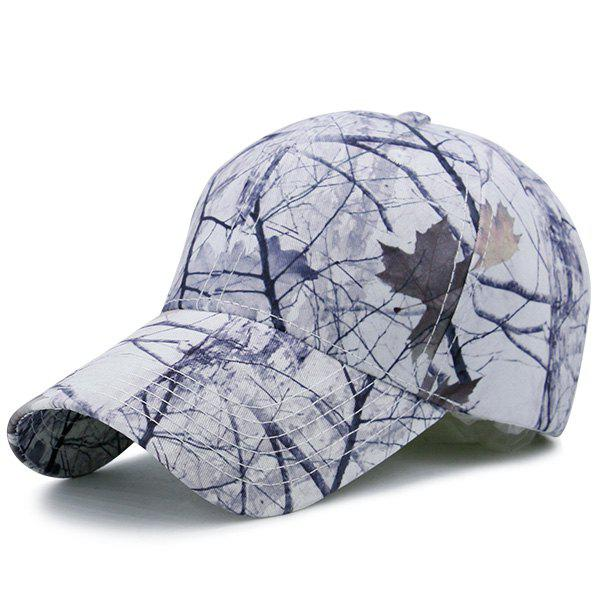 Outdoor Adjustable Baseball Hat with Leaves Shrub Pattern - WHITE