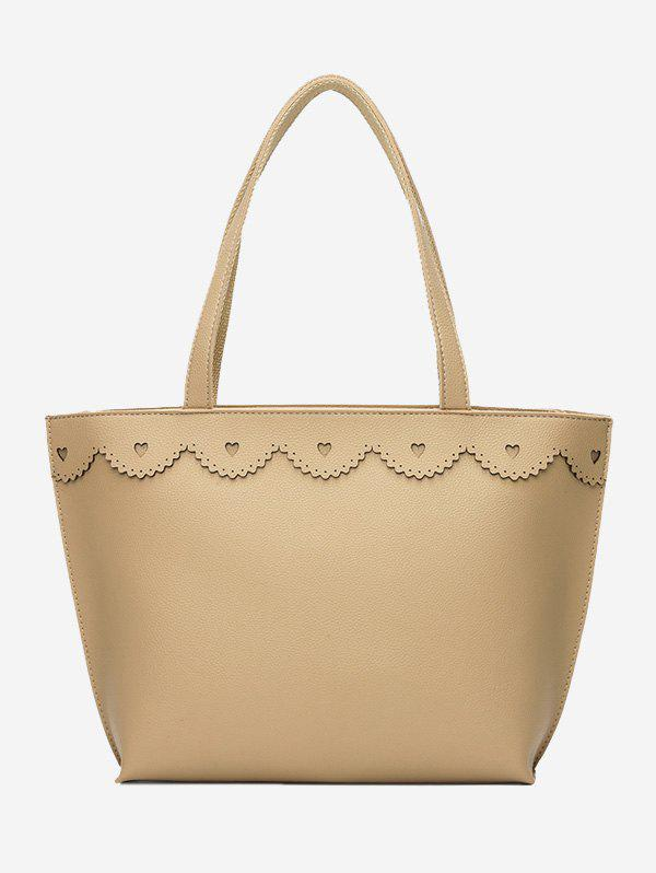 Heart Pattern Faux Leather Shoulder Bag - BEIGE