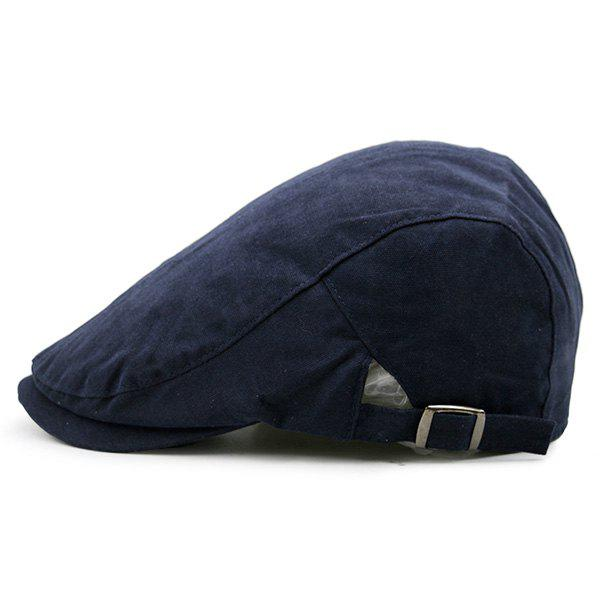 Plain Two Sides Adjustable Buckles Cabbie Hat - DEEP BLUE