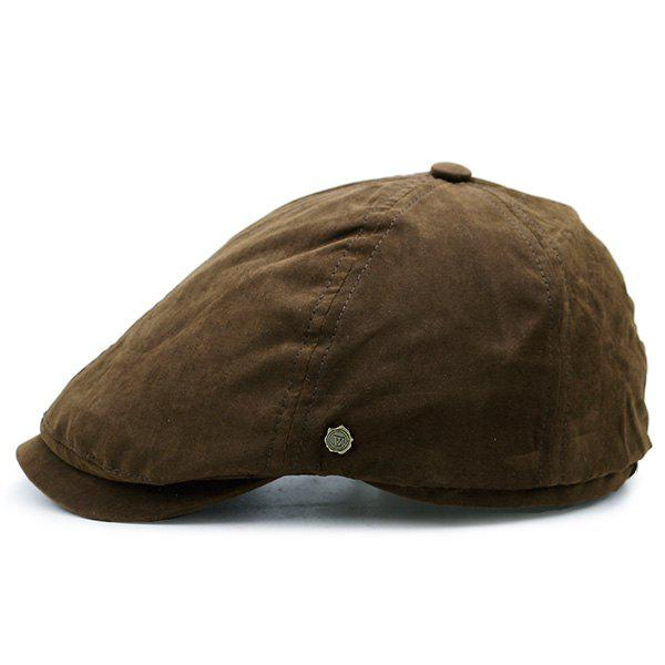 Small Alloy Label Embellished Plain Cabbie Hat - COFFEE
