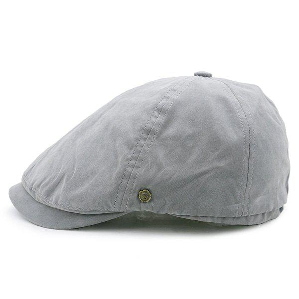 Small Alloy Label Embellished Plain Cabbie Hat - GRAY