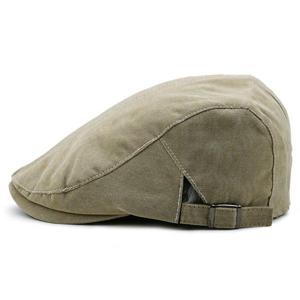 Plain Two Sides Adjustable Buckles Cabbie Hat - KHAKI