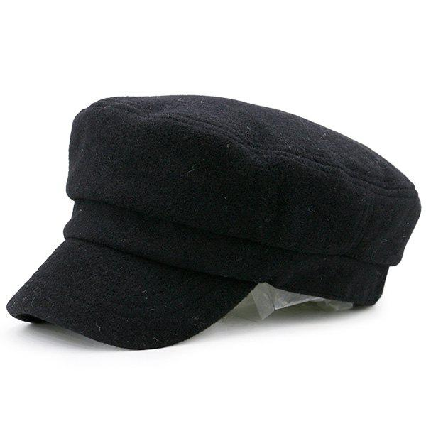 Plain Winter Military Hat - BLACK
