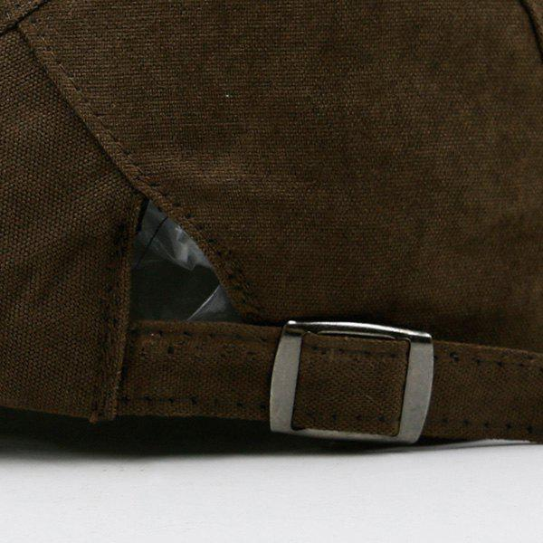 Plain Two Sides Adjustable Buckles Cabbie Hat - COFFEE