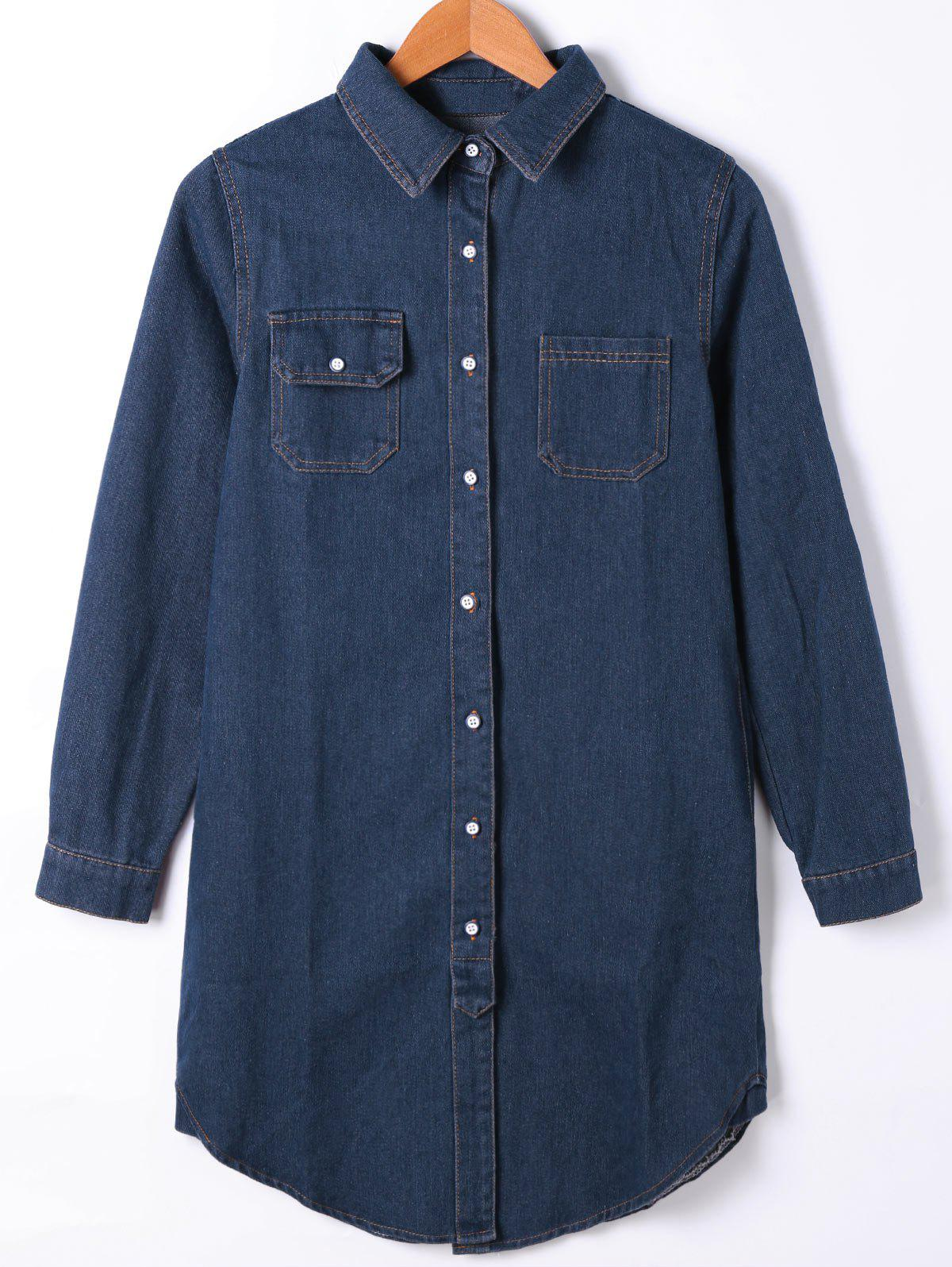 Flap Pocket Button Up Denim Shirt Coat - [