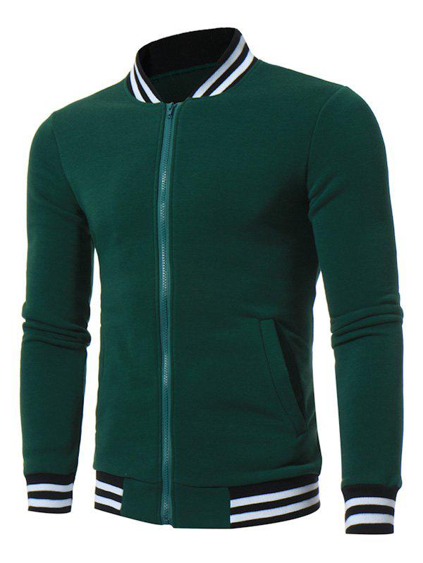 Fleece Striped Panel Zip Up Jacket - Vert 3XL