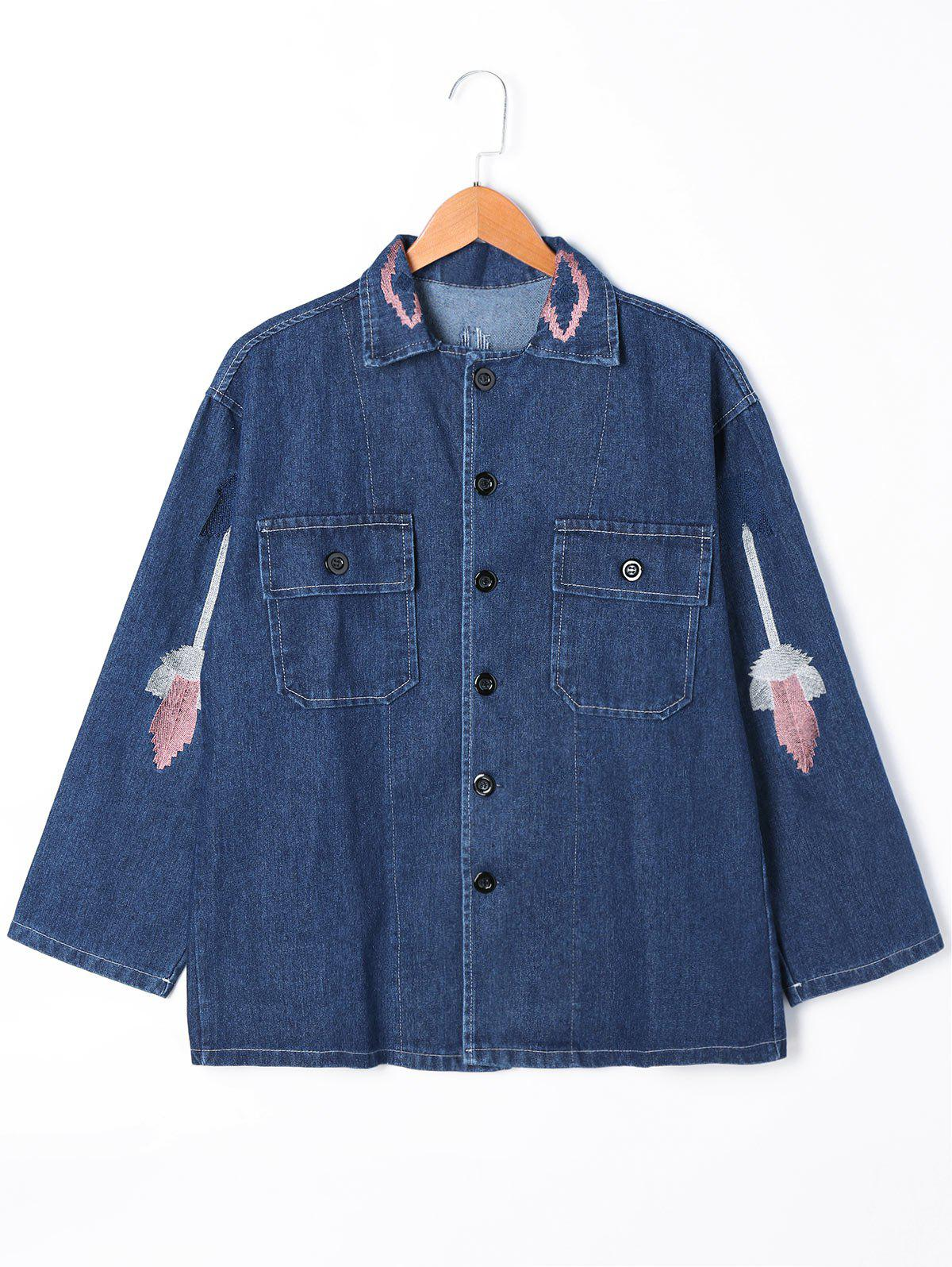 Veste en denim à poches à rabat à broderies - Denim Bleu 2XL
