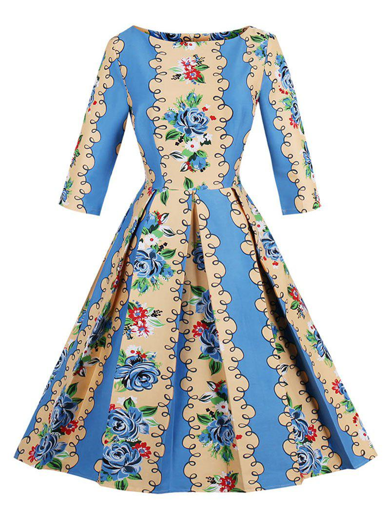 Retro Floral Print Fit and Flare Dress - BLUE/YELLOW S