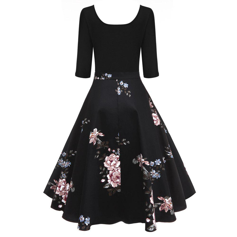 Retro U Neck Floral Print Pin Up Dress от Dresslily.com INT