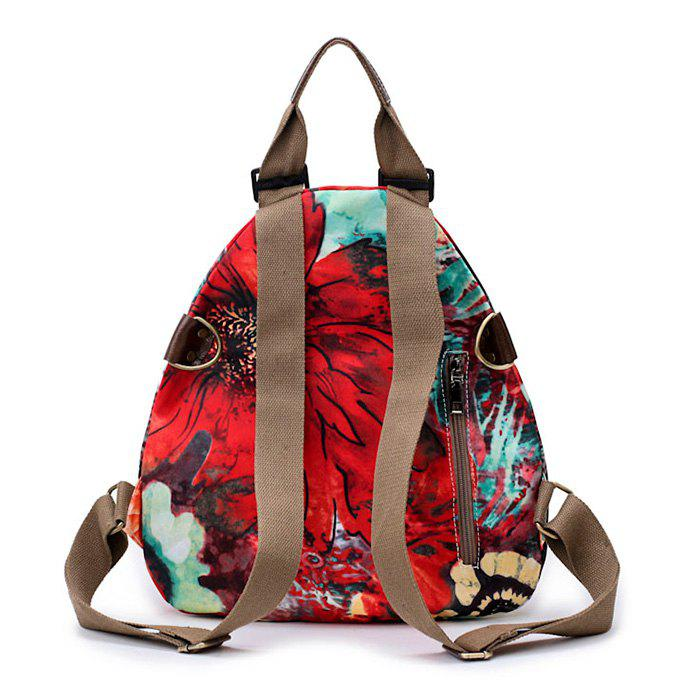 Floral Print Nylon Backpack - RED