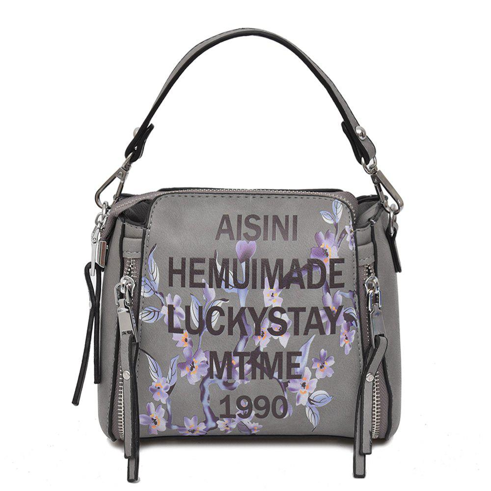 Print Letter Flower Crossbody Bag - Gris