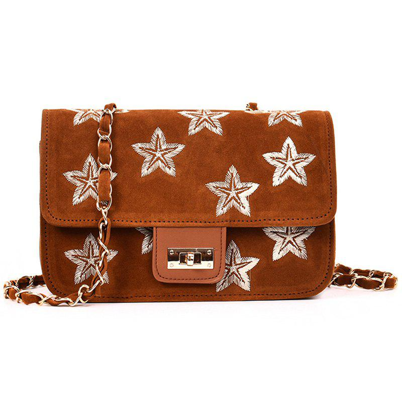 Sac à bandoulière Chain Star Embroidery - BRUN