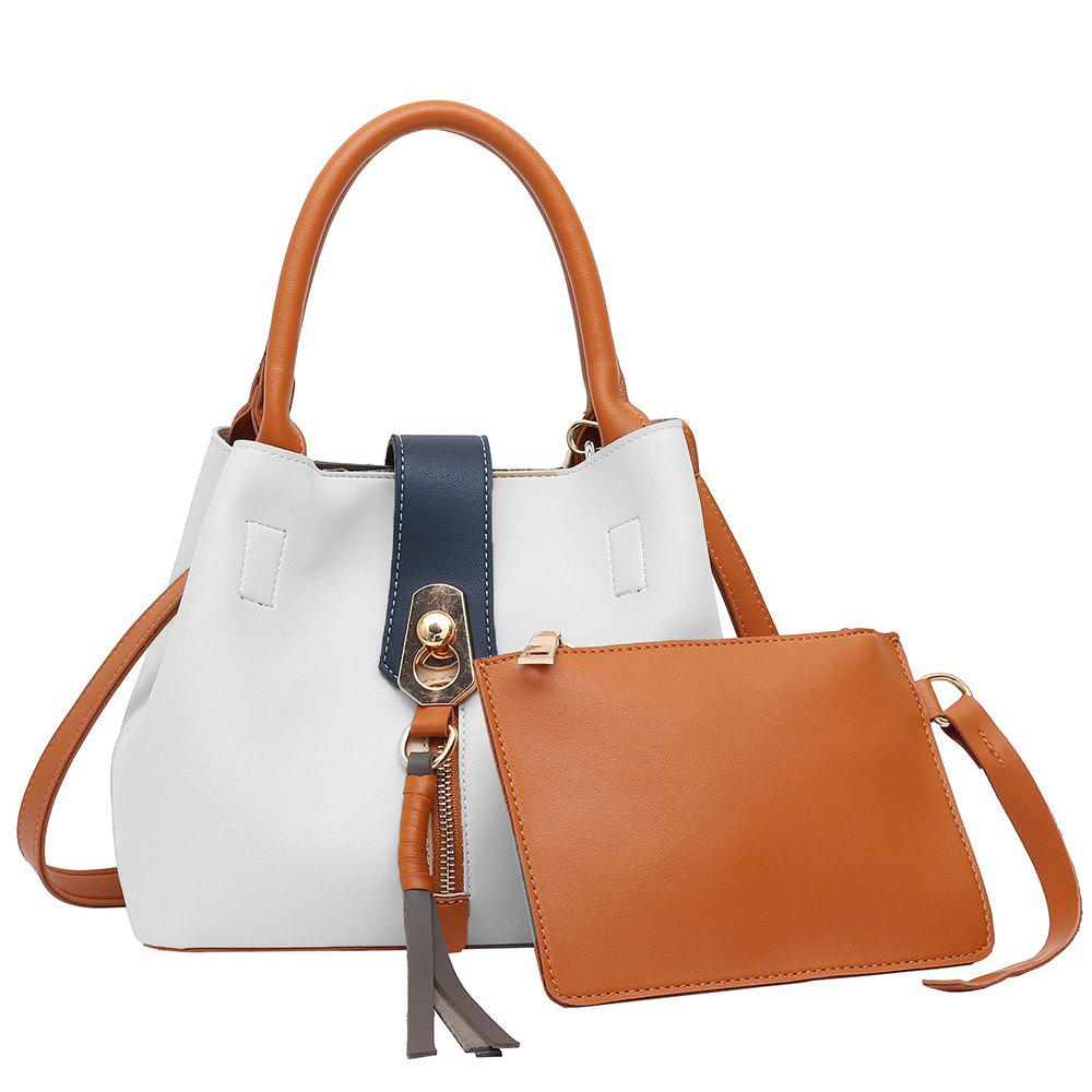 2 Pieces Color Block Tassel Handbag Set - WHITE