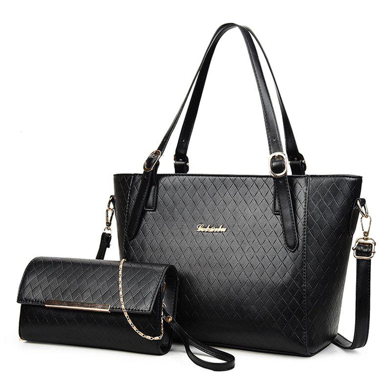 2 Pieces Metal Quilted Shoulder Bag Set - BLACK