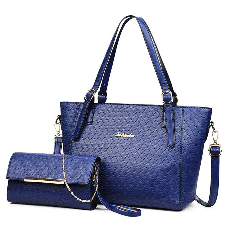 2 Pieces Metal Quilted Shoulder Bag Set - BLUE