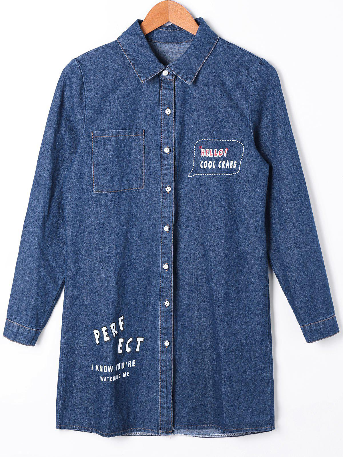 Patch Pocket Button Up Denim Shirt Coat - CERULEAN M