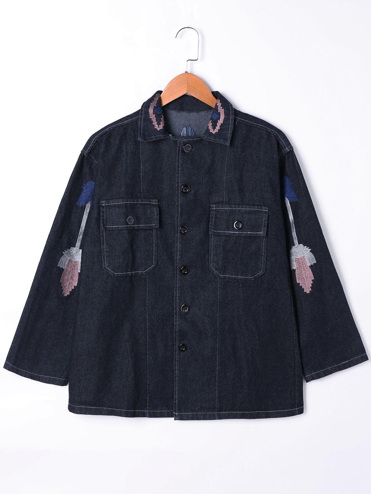 Embroidery Flap Pockets Denim Jacket - BLACK M