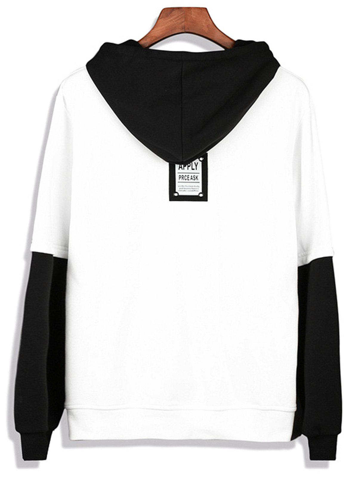 Color Block Faux Twinset Pullover Hoodie - WHITE L