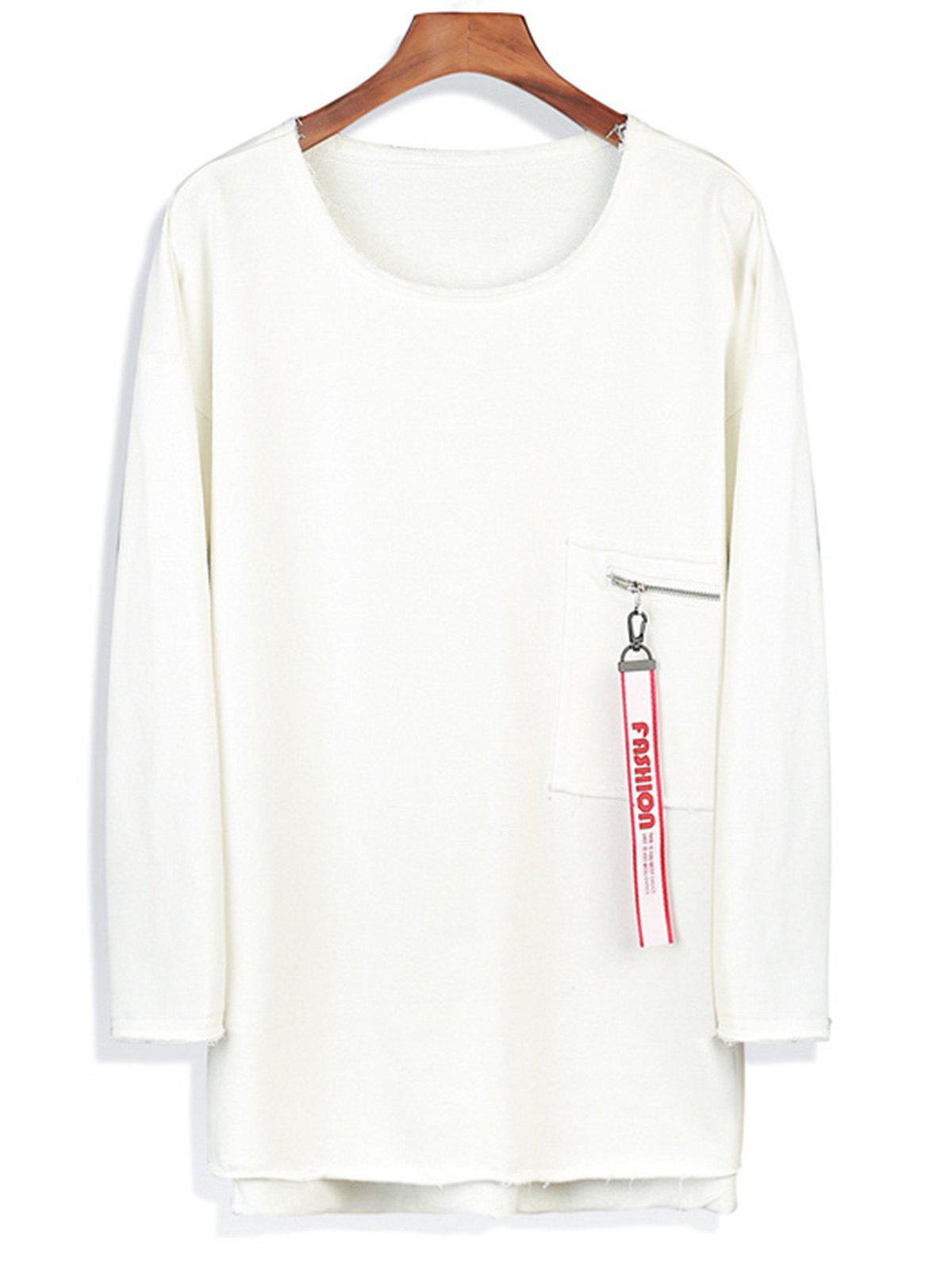 Drop Shoulder Longline Zip Pocket Sweatshirt - WHITE M