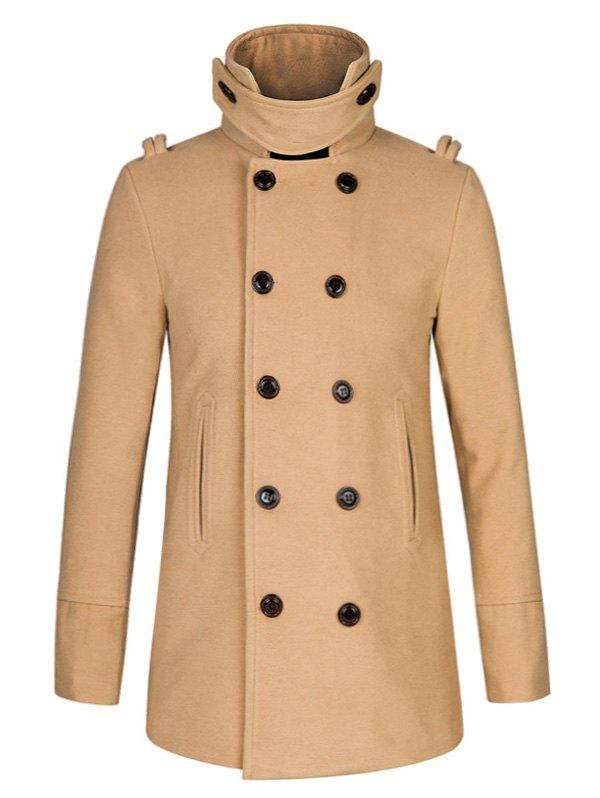 Double Breasted Stand Collar Woolen Peacoat - KHAKI 2XL