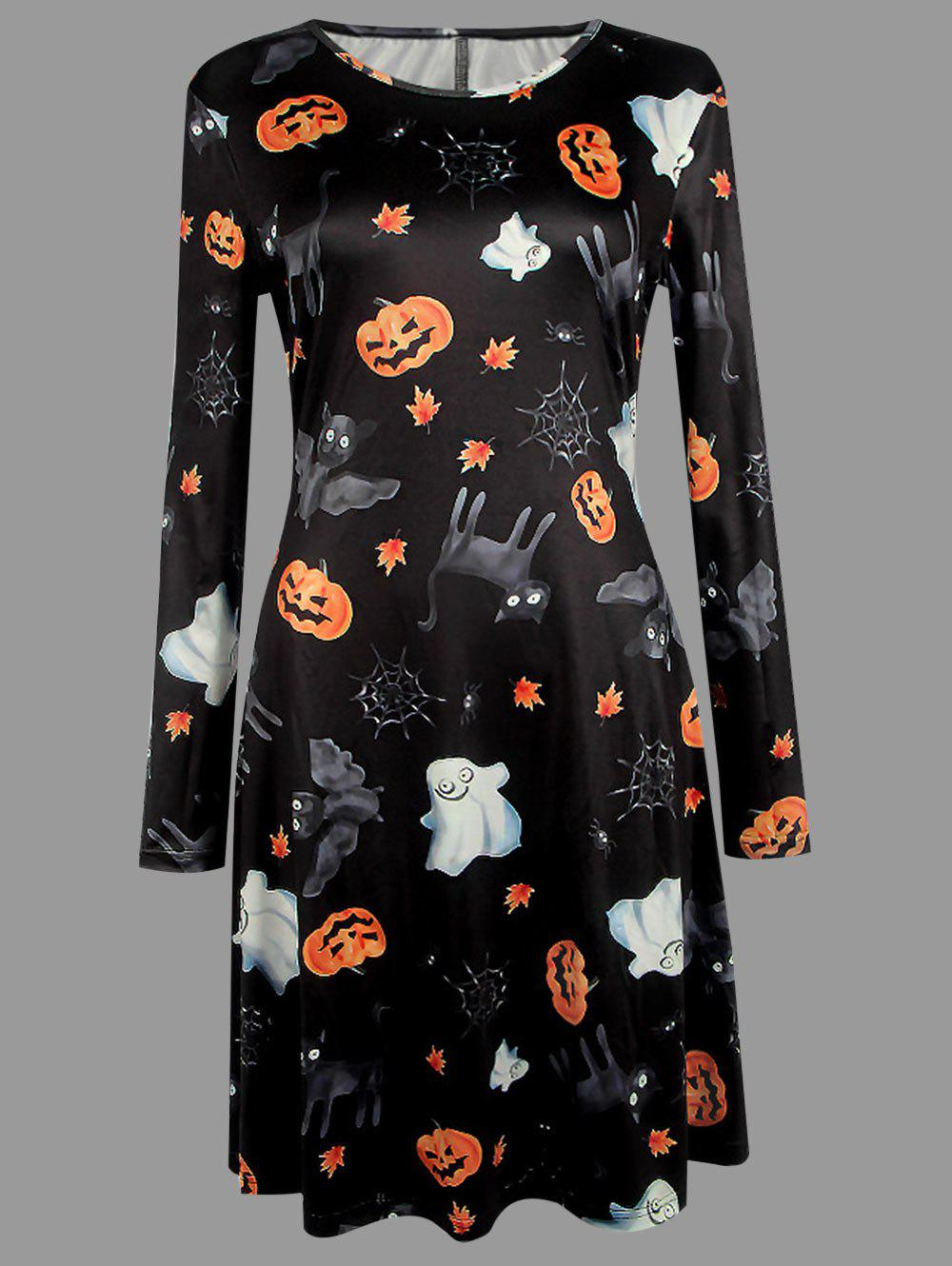Plus Size Halloween Cat Bat Pumpkin Print Dress - BLACK 3XL