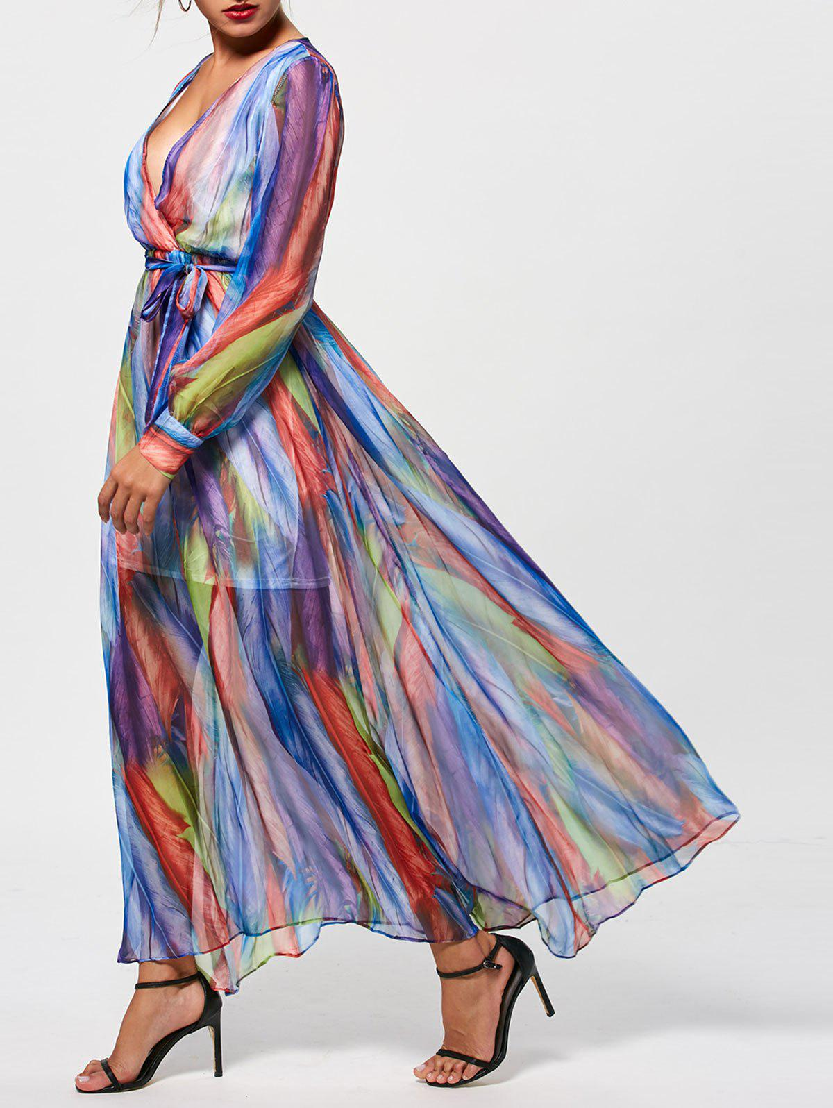 Graceful Plunge Neck Colorful Stripe Women's Long Dress - COLORMIX 2XL