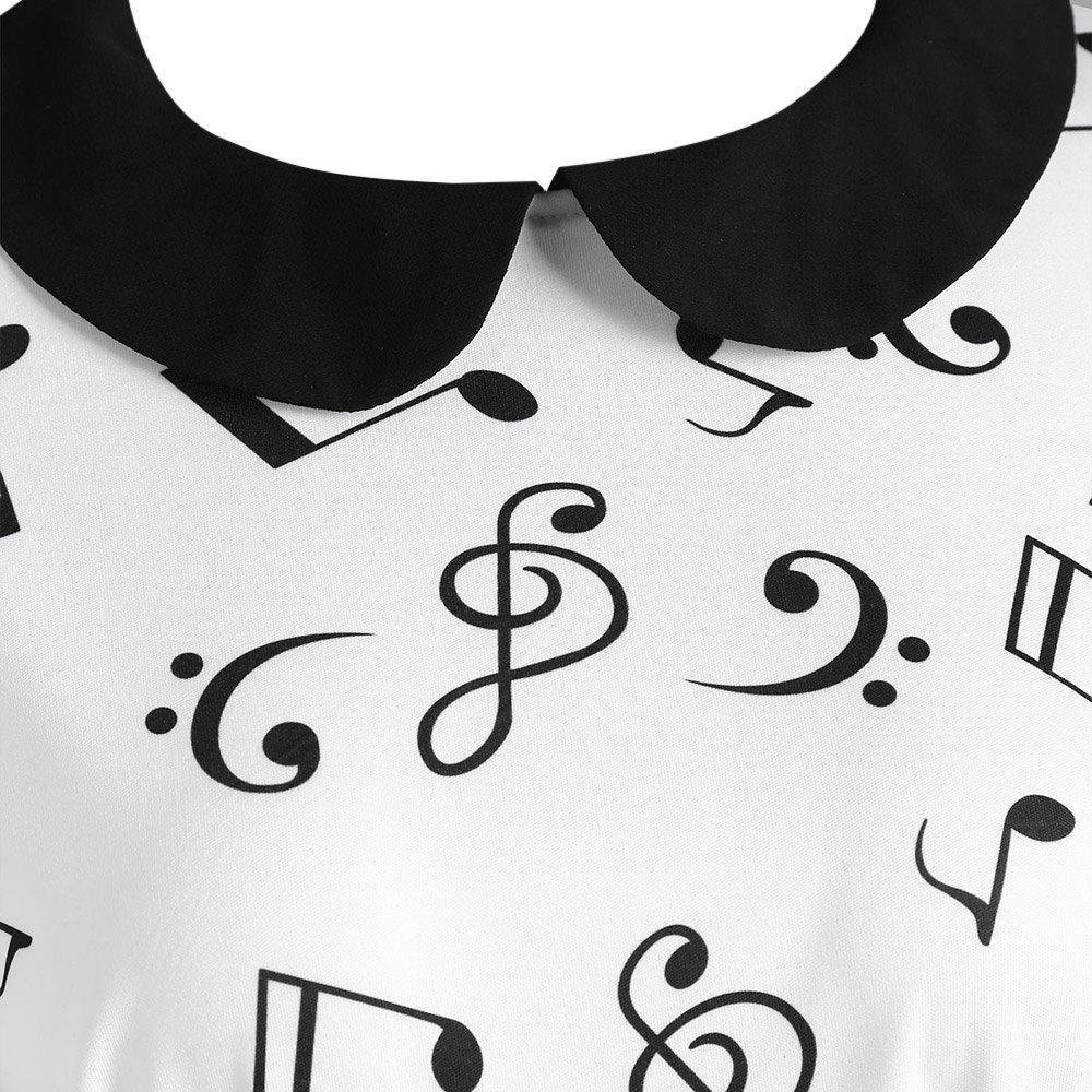 Plus Size Musical Notes Printed Collared Retro Dress от Dresslily.com INT