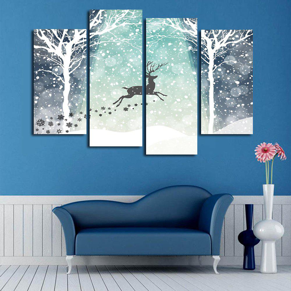 Christmas Snow Deer Print Unframed Canvas Paintings wall art sunset pyramids printed unframed canvas paintings