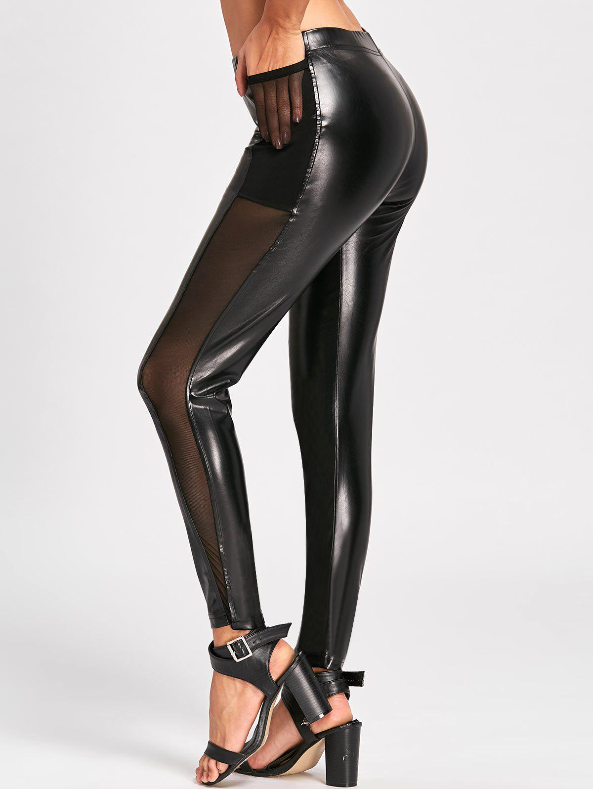 High Waist Sheer Mesh Insert Faux Leather Pants - BLACK M