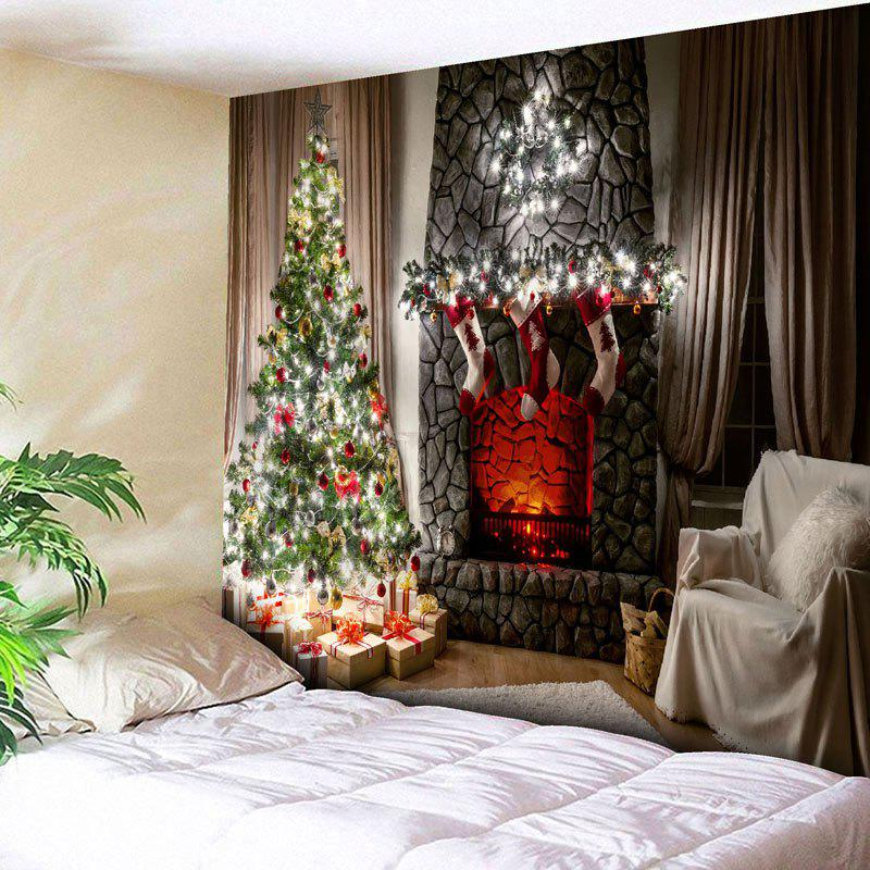 Wall Hanging Christmas Tree Fireplace Tapestry christmas tree photography background christmas lights fireplace wall decors backdrop xt 4525