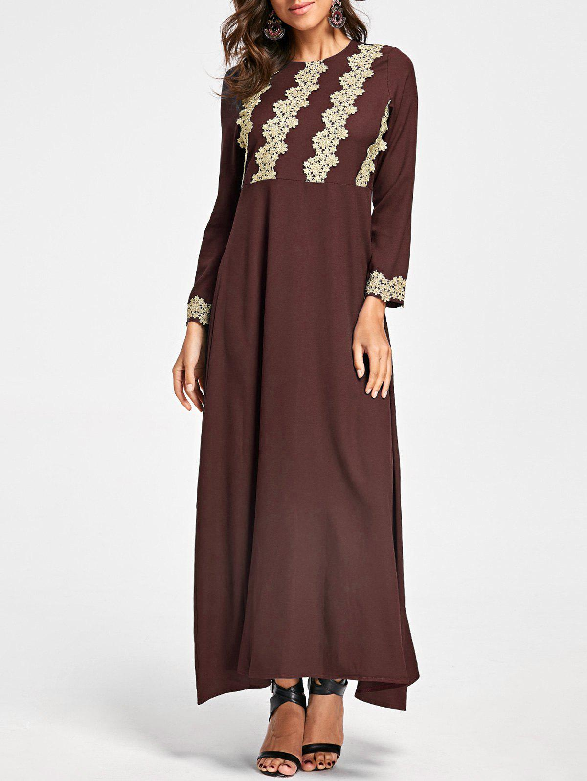 Embroidery Long Sleeve Party Evening Dress - TAN XL