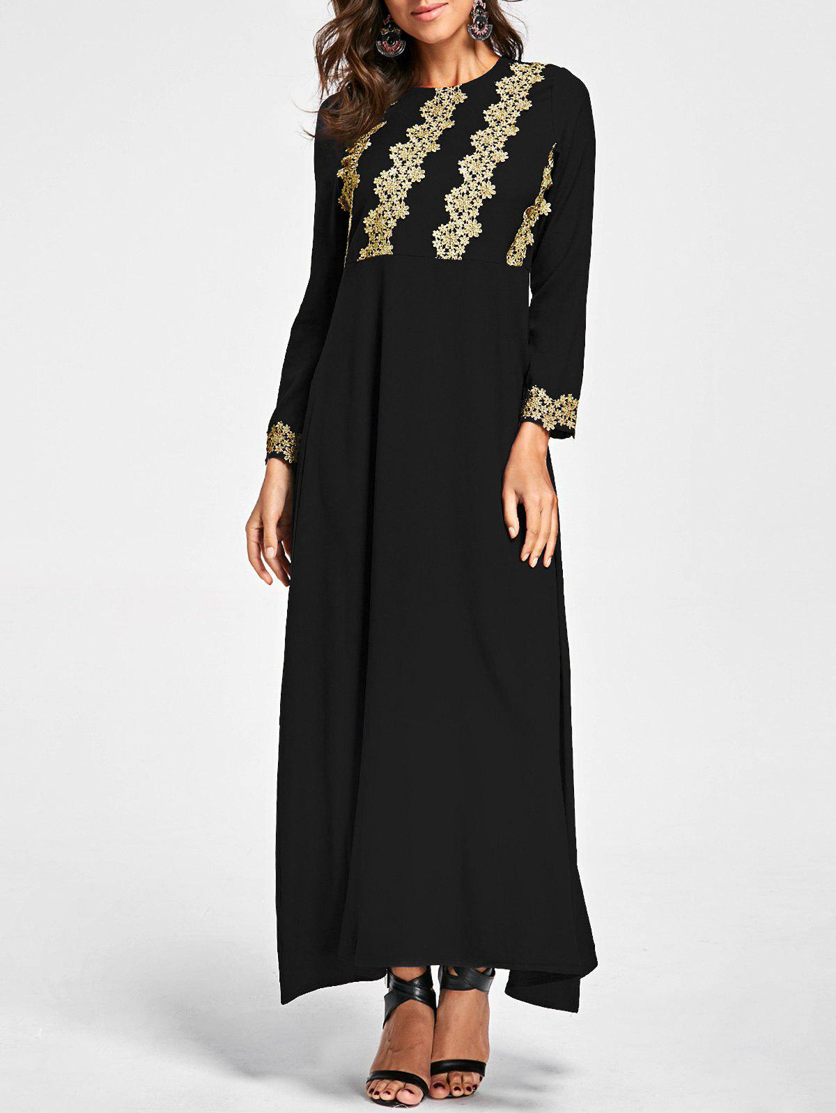 Embroidery Long Sleeve Party Evening Dress - BLACK XL