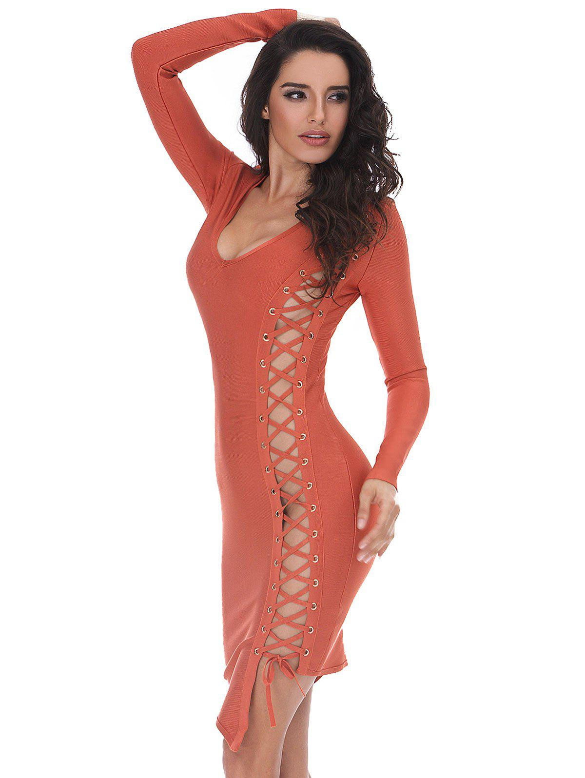 Lace-up Long Sleeve Bodycon Bandage Dress - ORANGE S
