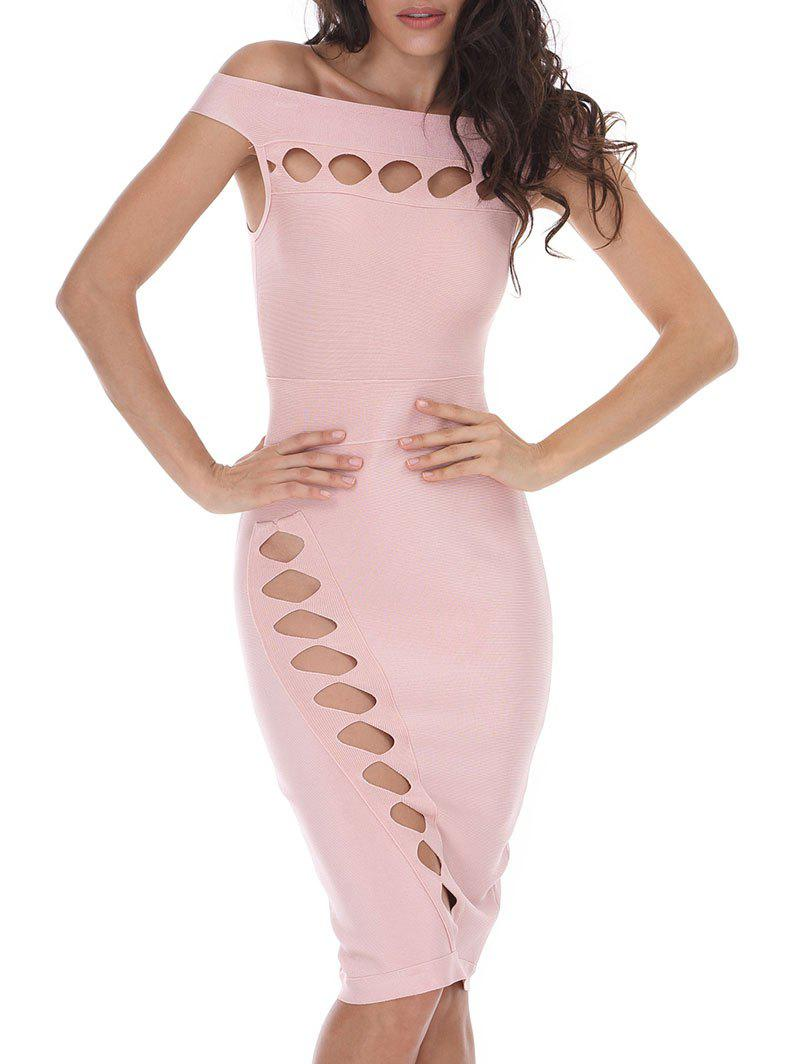 Bodycon Off Shoulder Cut Out Bandage Dress - PAPAYA L