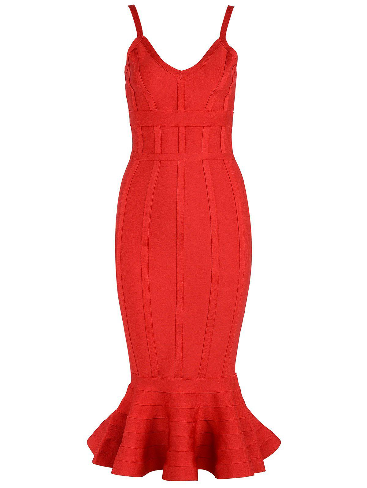 V-neck Mermaid Bodycon Slap Bandage Dress - Rouge L
