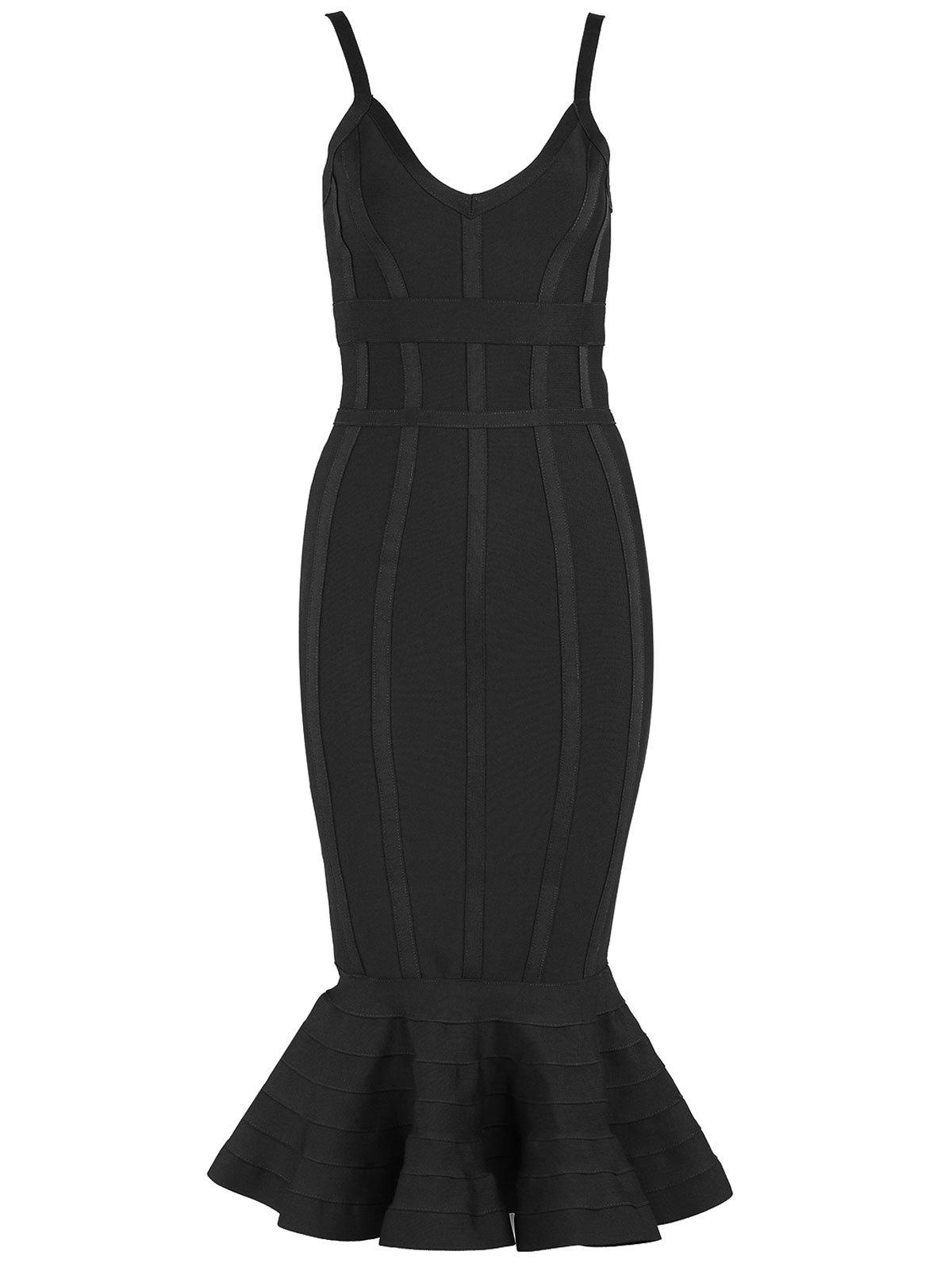 V-neck Mermaid Bodycon Slip Bandage Dress - BLACK S