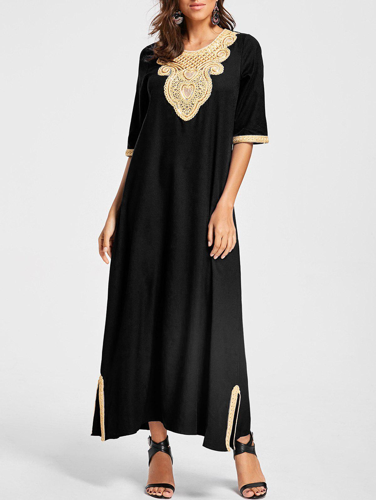 Embroidery Ankle Length Bohemian Dress - BLACK L