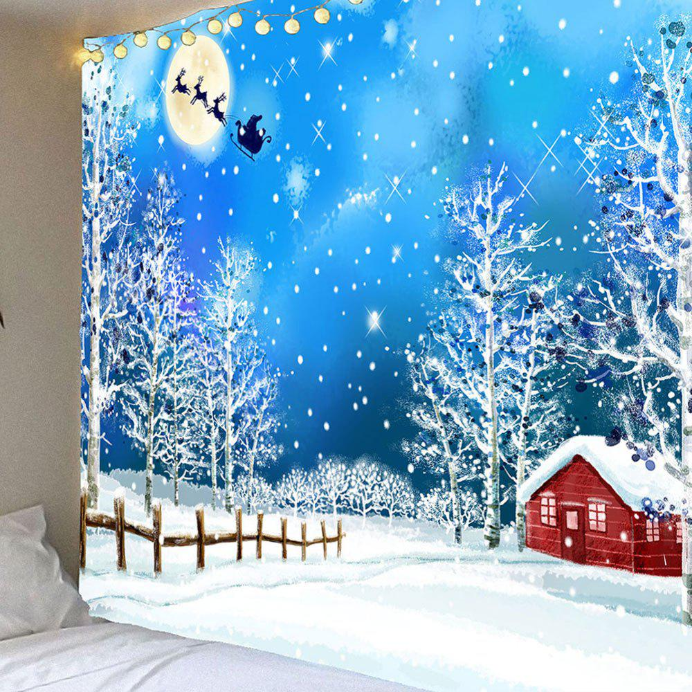 Waterproof Snows and Trees Pattern Christmas Wall Hanging Tapestry waterproof swans cascade trees wall tapestry