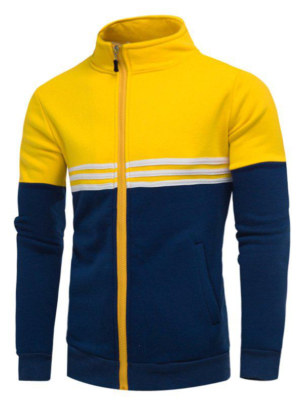 Fleece Color Block Stripe Zip Up Jacket - Jaune L