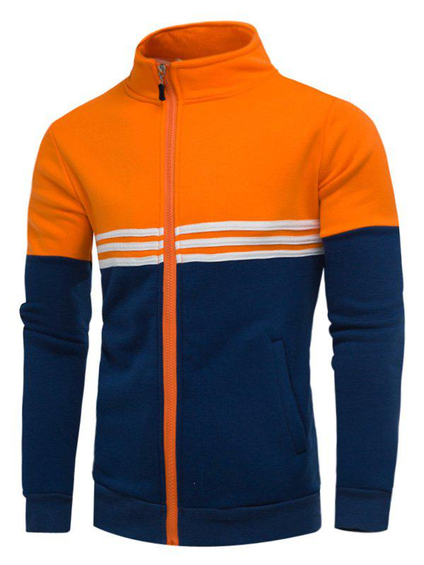Fleece Color Block Stripe Zip Up Jacket - Orange XL