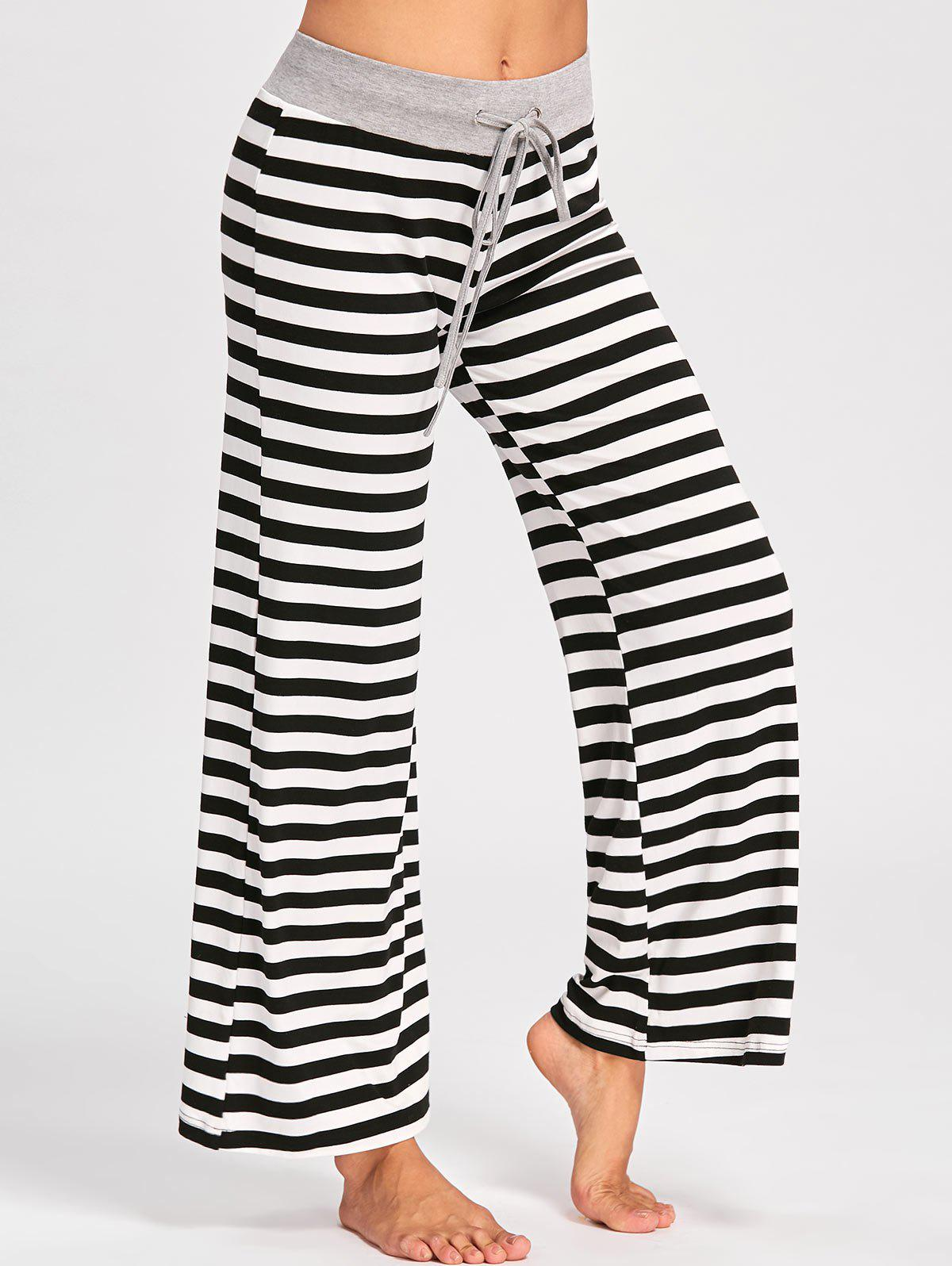 Drawstring Striped Jersey Palazzo Pants - BLACK STRIPE M
